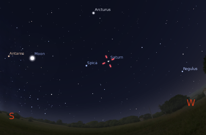 Where to find Saturn - 9pm on Jun 10th 2011